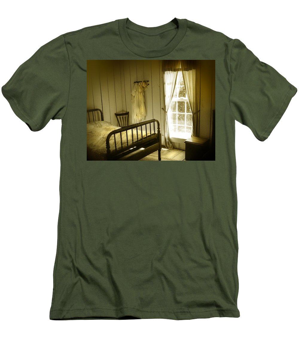 Bedroom Men's T-Shirt (Athletic Fit) featuring the photograph Yellow Bedroom Light by Mal Bray
