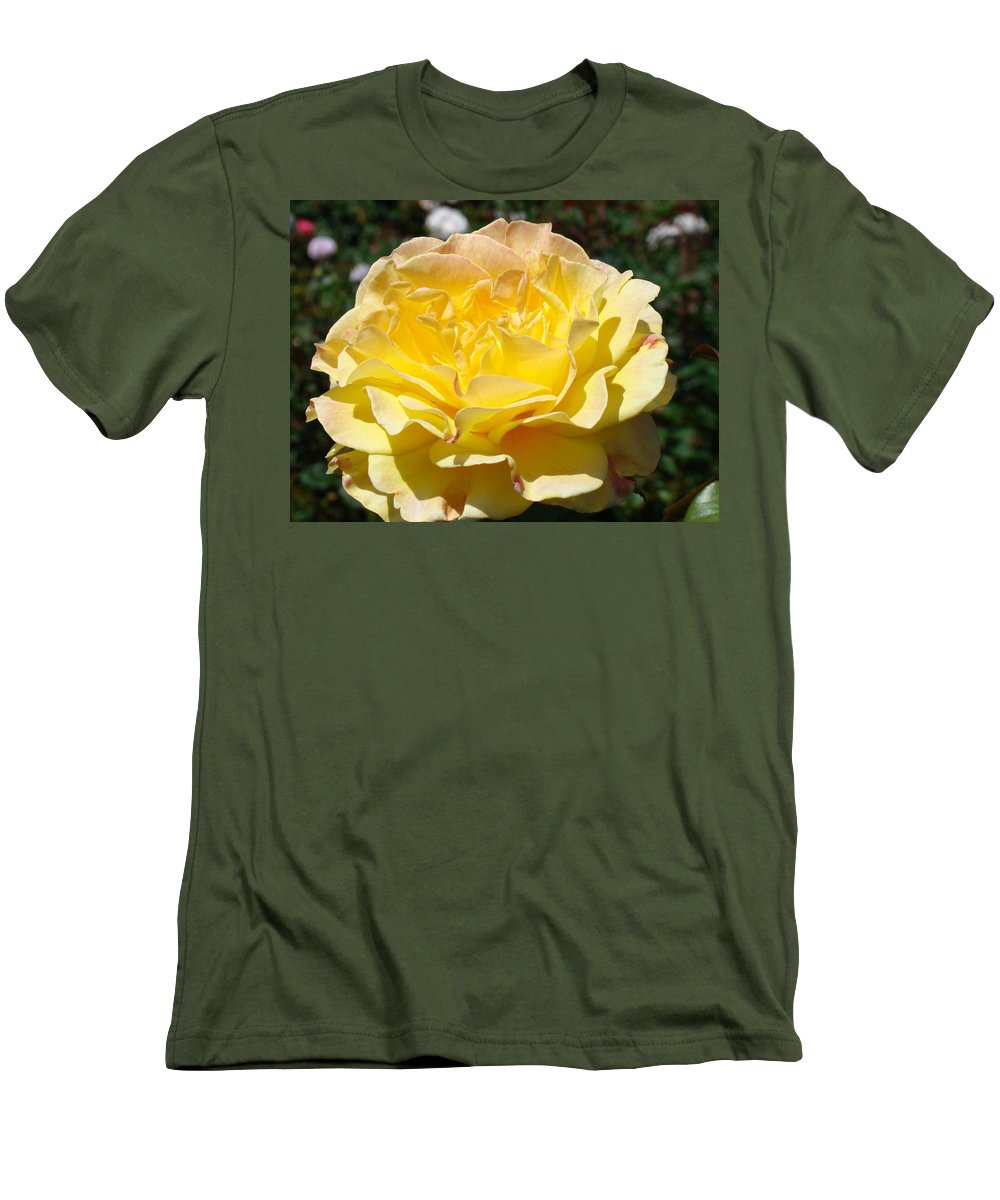 Rose Men's T-Shirt (Athletic Fit) featuring the photograph Yellow Rose Sunlit Summer Roses Flowers Art Prints Baslee Troutman by Baslee Troutman