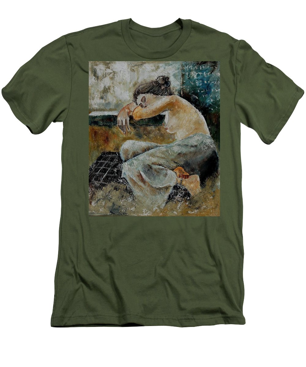 Girl Men's T-Shirt (Athletic Fit) featuring the painting Young Girl 679050 by Pol Ledent