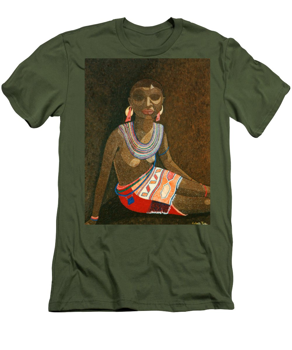 Zulu Woman Men's T-Shirt (Athletic Fit) featuring the painting Zulu Woman With Beads by Madalena Lobao-Tello