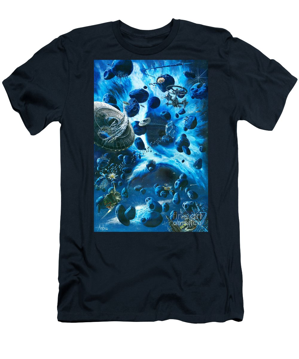 Asteroid Men's T-Shirt (Athletic Fit) featuring the painting Alien Pirates by Murphy Elliott
