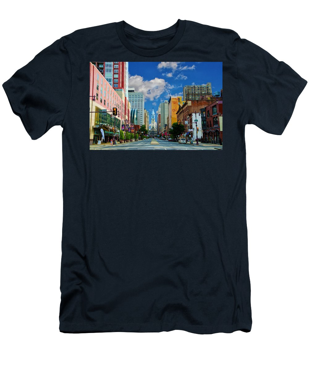 Broad Men's T-Shirt (Athletic Fit) featuring the photograph Broad Street - Avenue Of The Arts by Bill Cannon