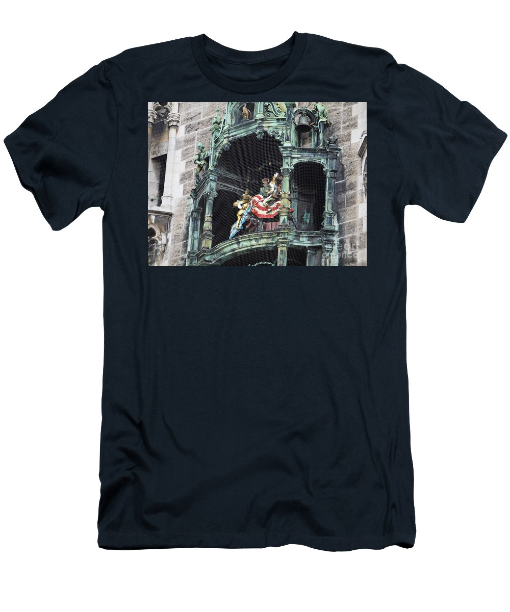 Glockenspiel Men's T-Shirt (Athletic Fit) featuring the photograph Mechanical Clock In Munich Germany by Howard Stapleton