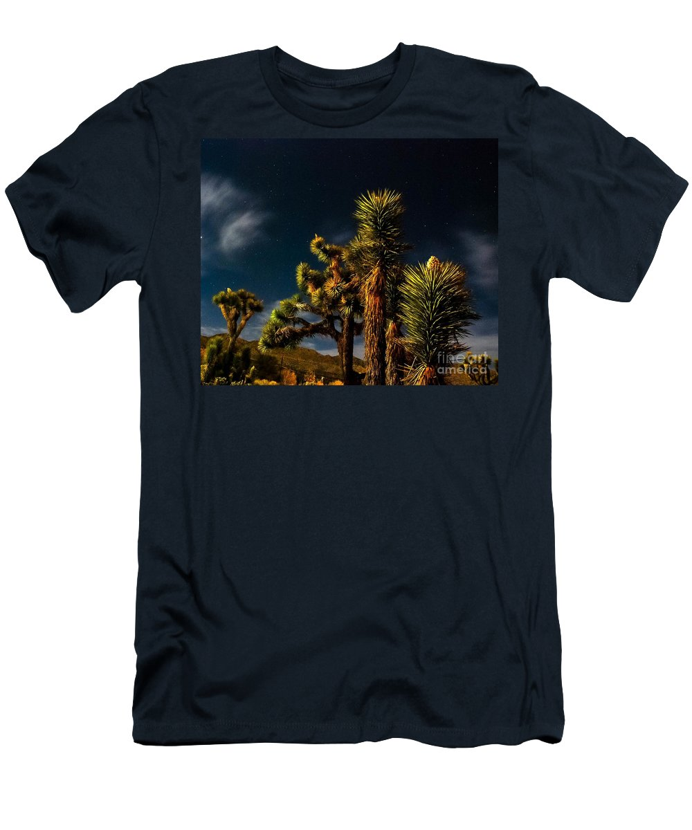 Desert Moon Men's T-Shirt (Athletic Fit) featuring the photograph Night Desert by Angela J Wright