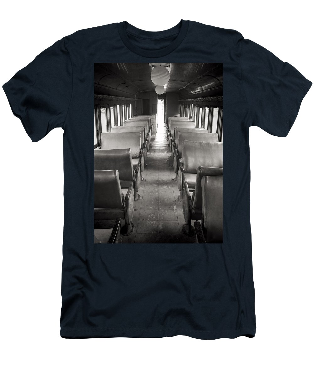 Merida Men's T-Shirt (Athletic Fit) featuring the photograph Old Train Seats by For Ninety One Days