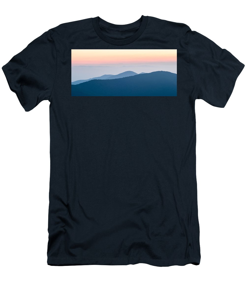 Mountain Men's T-Shirt (Athletic Fit) featuring the photograph Panorama Of Mountain Ridges Silhouettes by Alex Grichenko