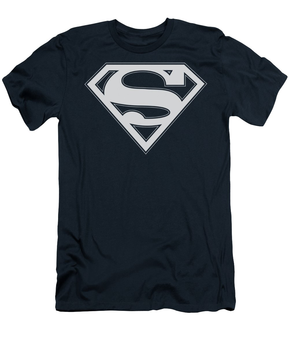 Superman T-Shirt featuring the digital art Superman - Navy And White Shield by Brand A