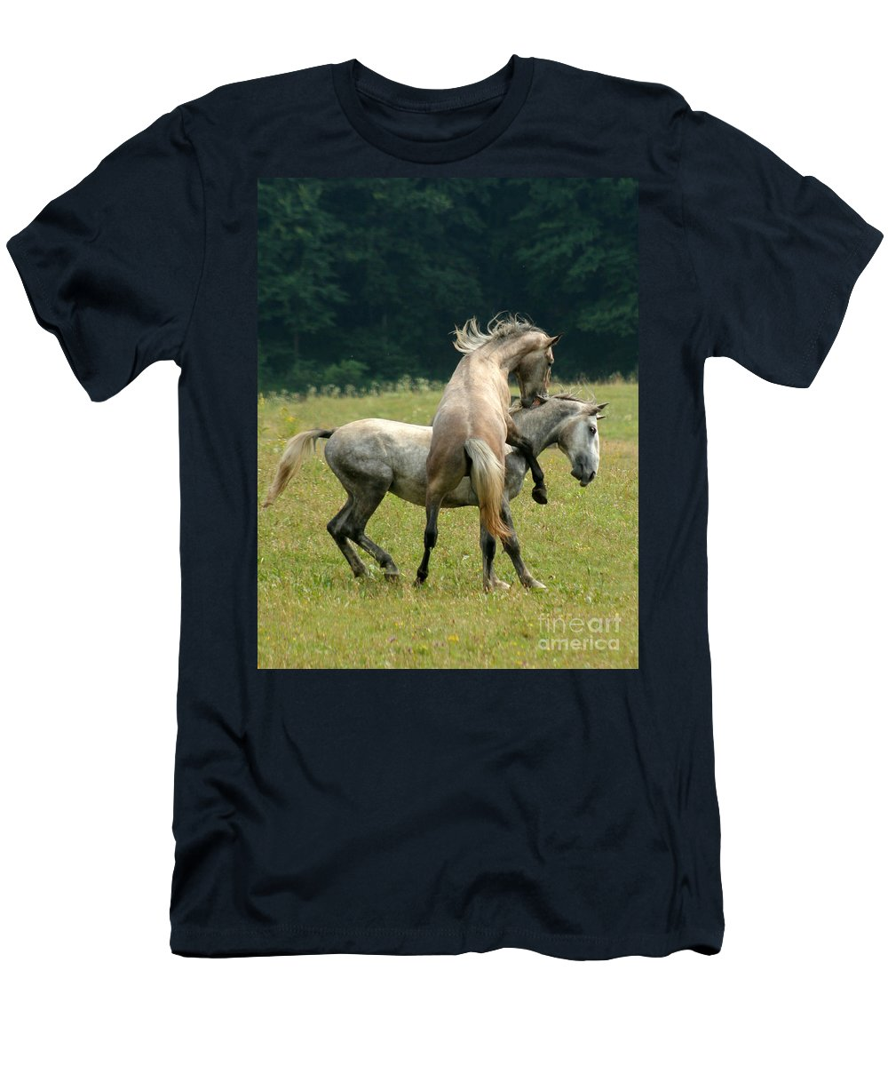Horse Men's T-Shirt (Athletic Fit) featuring the photograph The Bite by Angel Ciesniarska