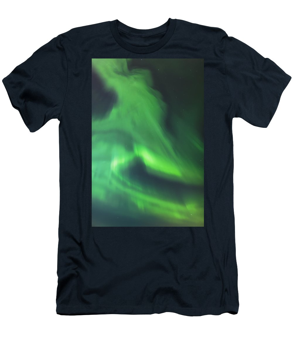 Anchorage Men's T-Shirt (Athletic Fit) featuring the photograph The Green Northern Lights Corona by Kevin Smith