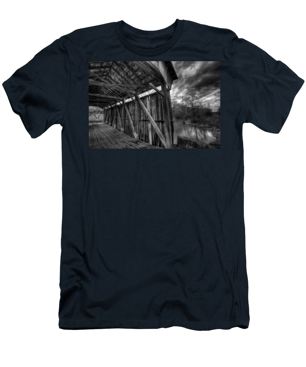 Covered Bridge Men's T-Shirt (Athletic Fit) featuring the photograph Trinity Road Covered Bridge by David Dufresne
