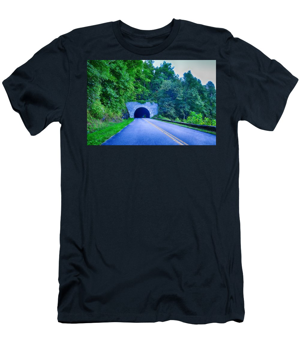 Mountain Men's T-Shirt (Athletic Fit) featuring the photograph Tunnel Through Mountains On Blue Ridge Parkway In The Morning by Alex Grichenko