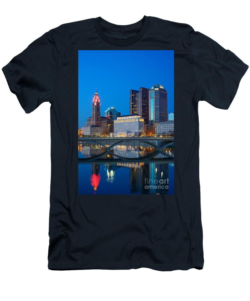 Columbus Men's T-Shirt (Athletic Fit) featuring the photograph Fx2l-516 Columbus Ohio Night Skyline Photo by Ohio Stock Photography