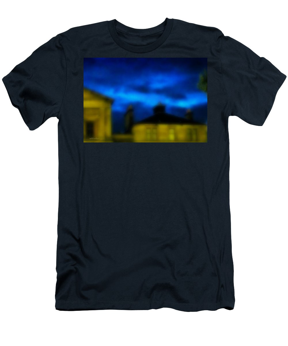 Rightfromtheart Men's T-Shirt (Athletic Fit) featuring the photograph 11pm Glasgow by Bob and Kathy Frank