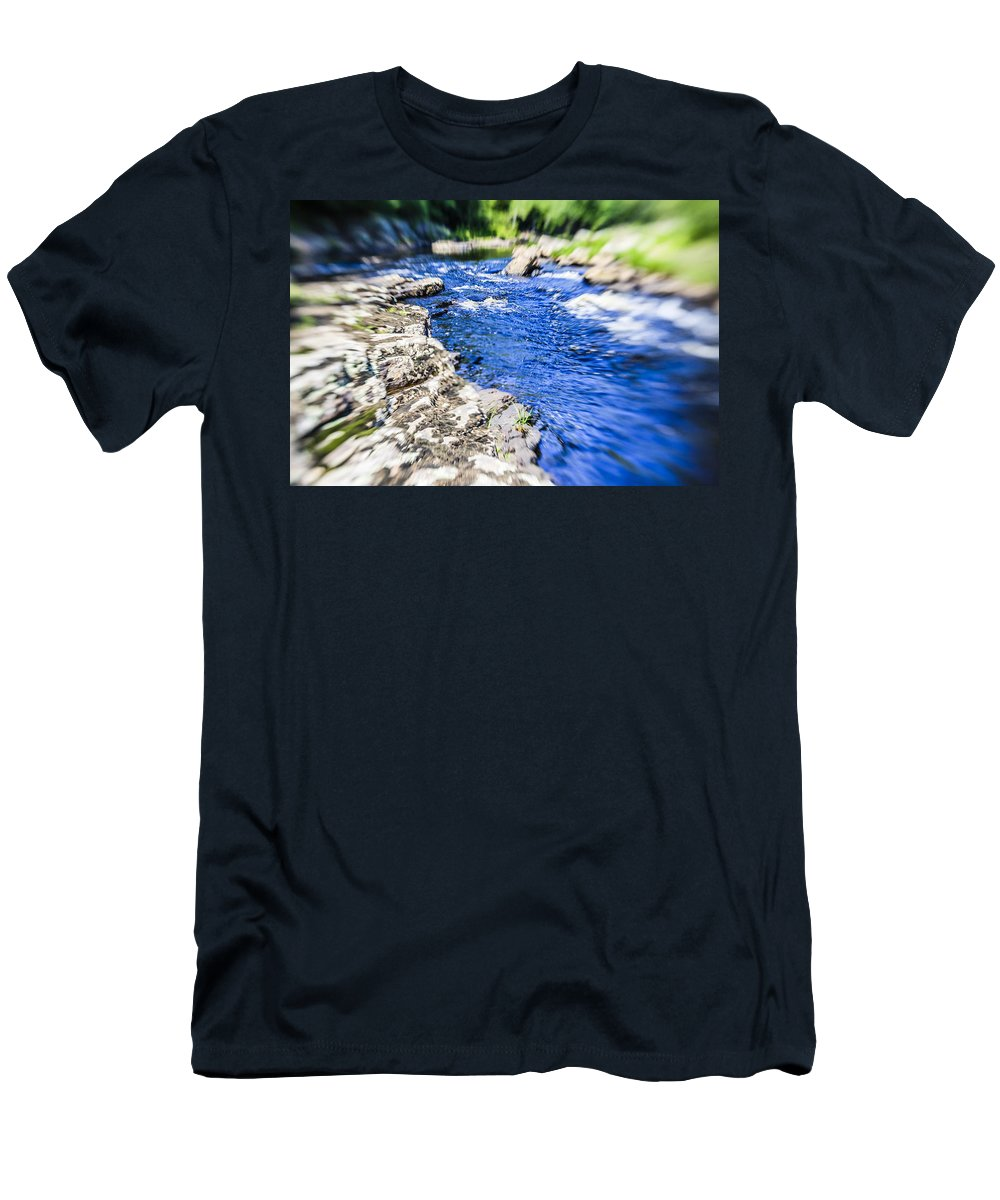 Photoshop.water Men's T-Shirt (Athletic Fit) featuring the photograph The Stream In Mountain by Alex Potemkin
