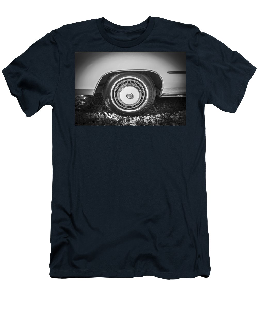 1978 Cadillac Men's T-Shirt (Athletic Fit) featuring the photograph 1978 Cadillac Eldorado Bw by Rich Franco