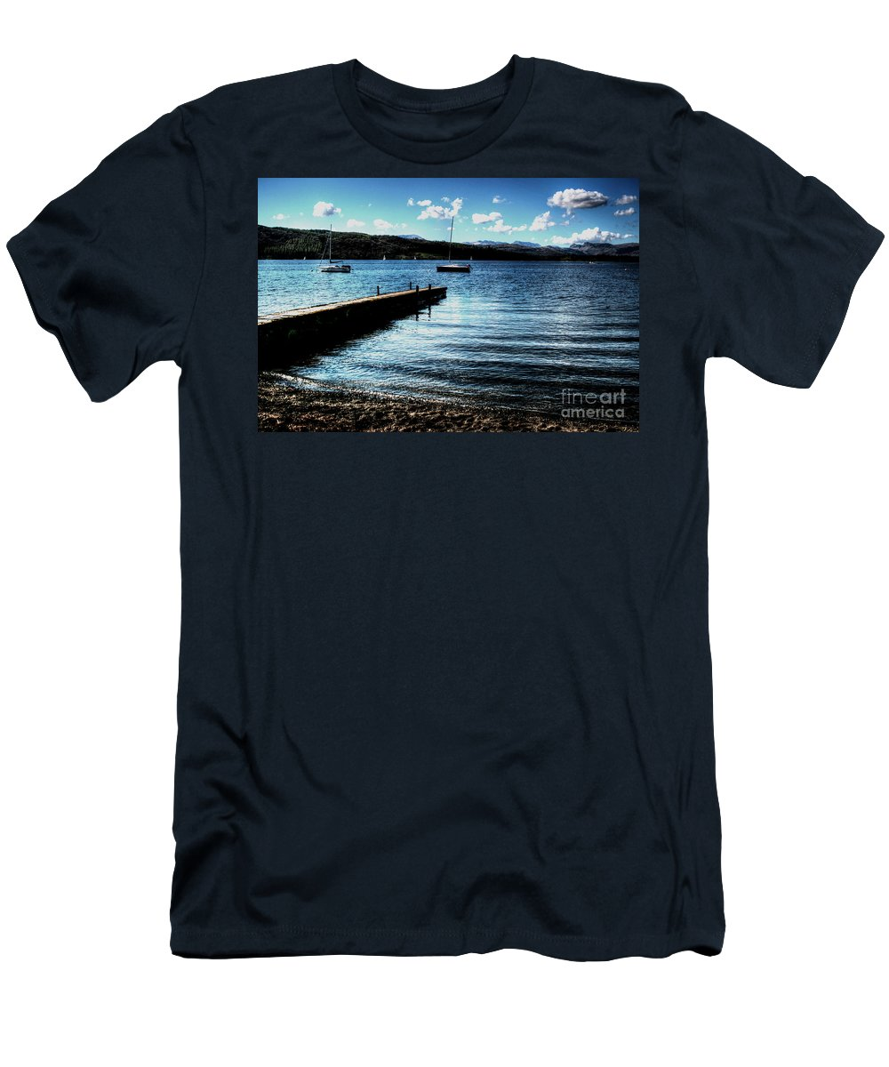 Boat Sales Men's T-Shirt (Athletic Fit) featuring the photograph Boats In Wales by Doc Braham
