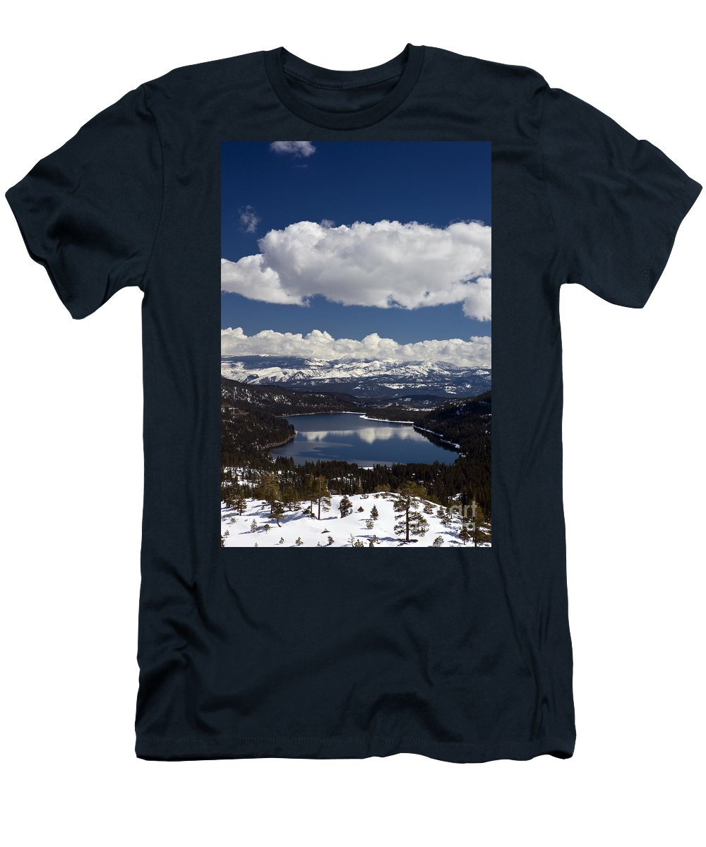 Travel Men's T-Shirt (Athletic Fit) featuring the photograph Donner Lake Donner Pass With Snow by Jason O Watson