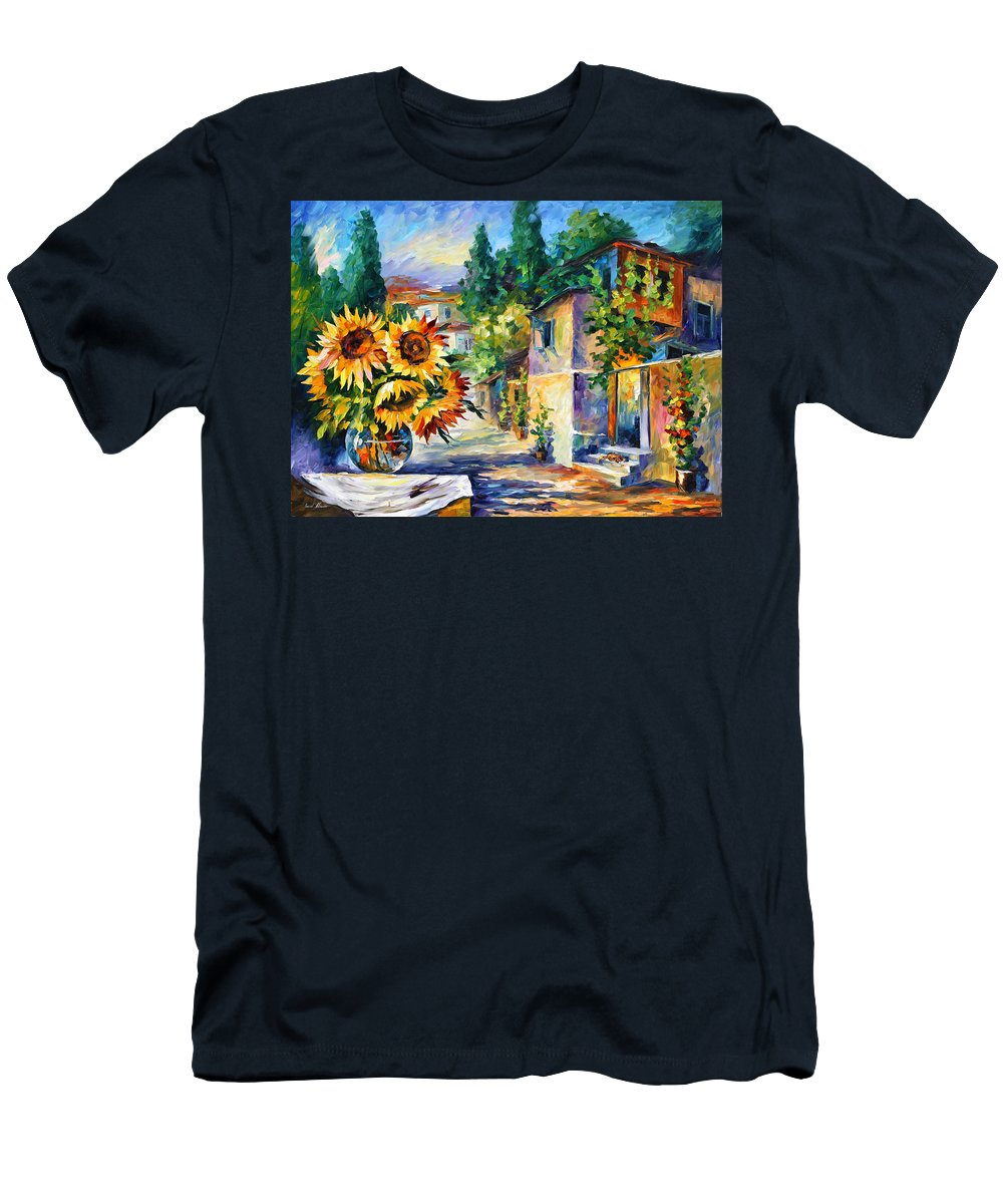 Greek Men's T-Shirt (Athletic Fit) featuring the painting Greek Noon by Leonid Afremov