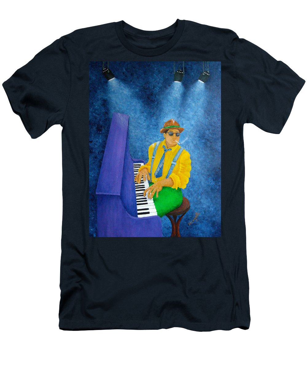 Pamela Allegretto Men's T-Shirt (Athletic Fit) featuring the painting Piano Man by Pamela Allegretto