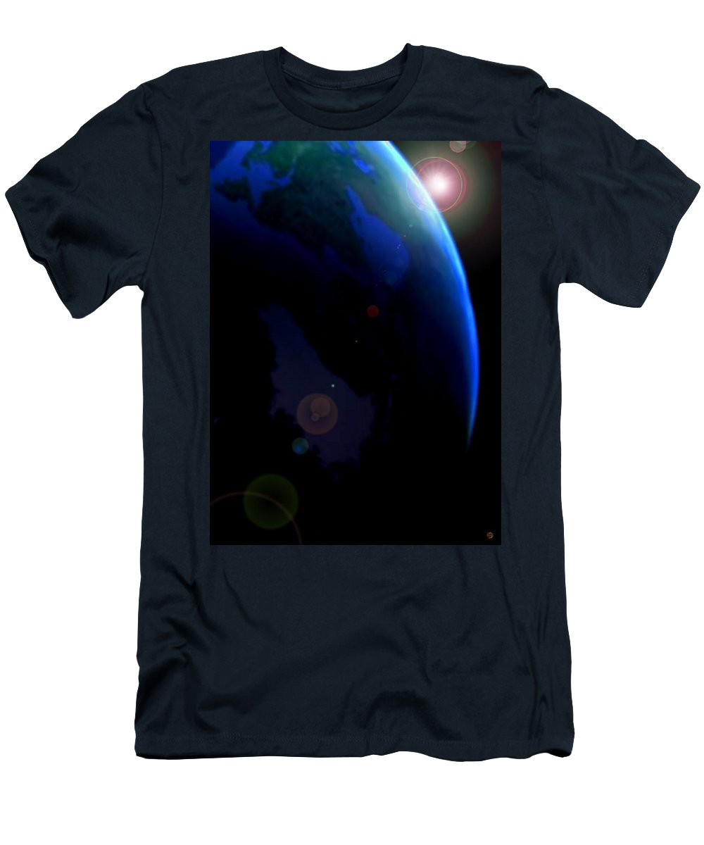 Earth Men's T-Shirt (Athletic Fit) featuring the digital art Terra by Marcello Cicchini