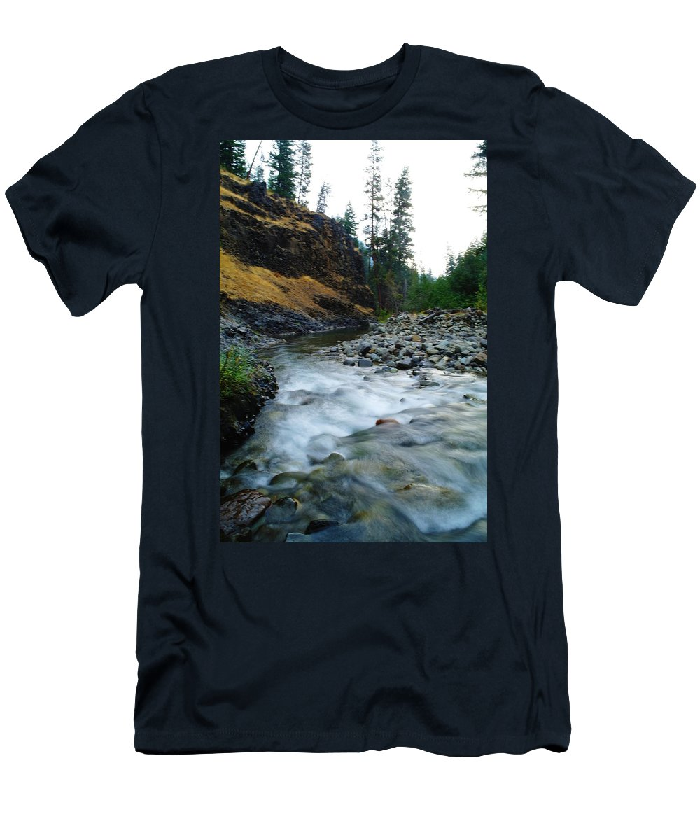 Rivers Men's T-Shirt (Athletic Fit) featuring the photograph The Little Rattlesnake River by Jeff Swan