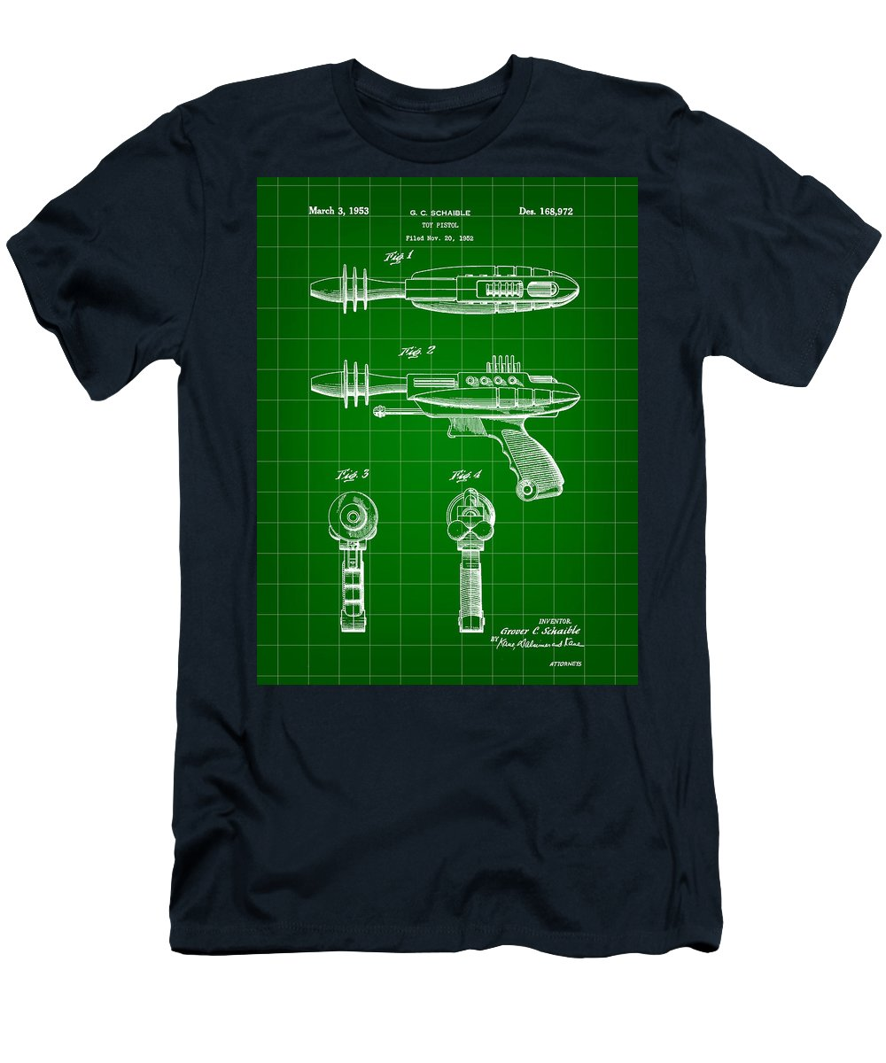 Toy Men's T-Shirt (Athletic Fit) featuring the digital art Toy Ray Gun Patent 1952 - Green by Stephen Younts