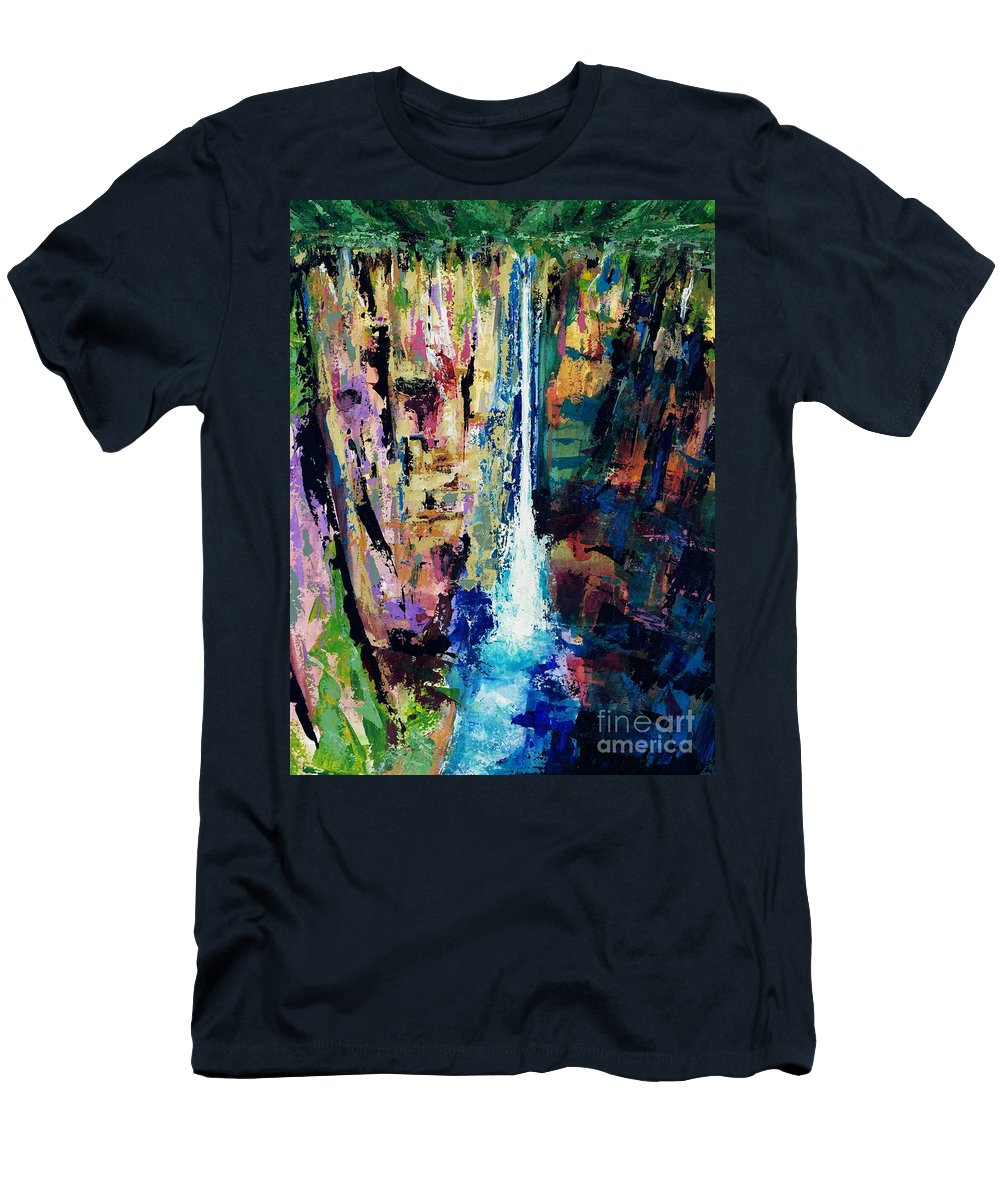Waterfalls Men's T-Shirt (Athletic Fit) featuring the painting Water Falls by Frances Marino