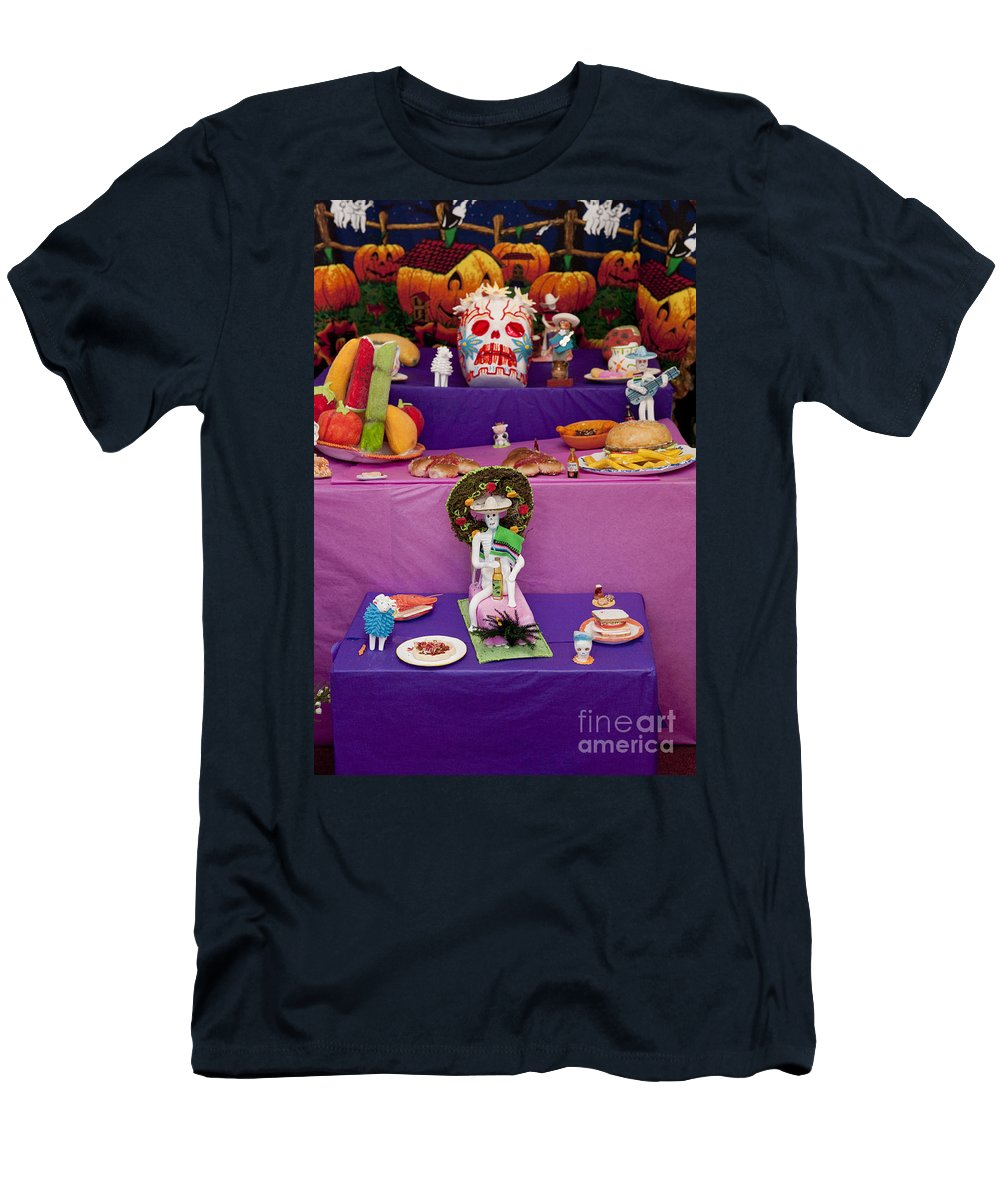 Day Of The Dead Men's T-Shirt (Athletic Fit) featuring the photograph Day Of The Dead Remembrance, Mexico by John Shaw