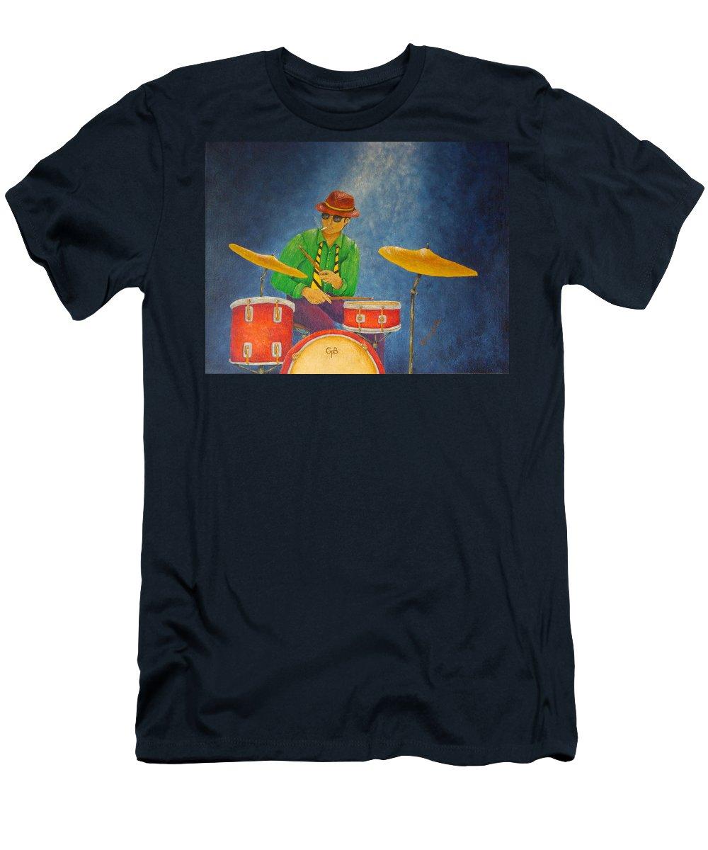 Pamela Allegretto-franz T-Shirt featuring the painting Jazz Drummer by Pamela Allegretto