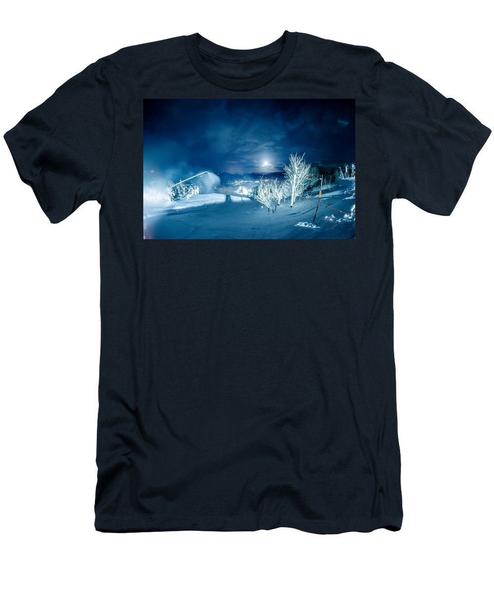 Sugar Men's T-Shirt (Athletic Fit) featuring the photograph North Carolina Sugar Mountain Ski Resort Winter 2014 by Alex Grichenko