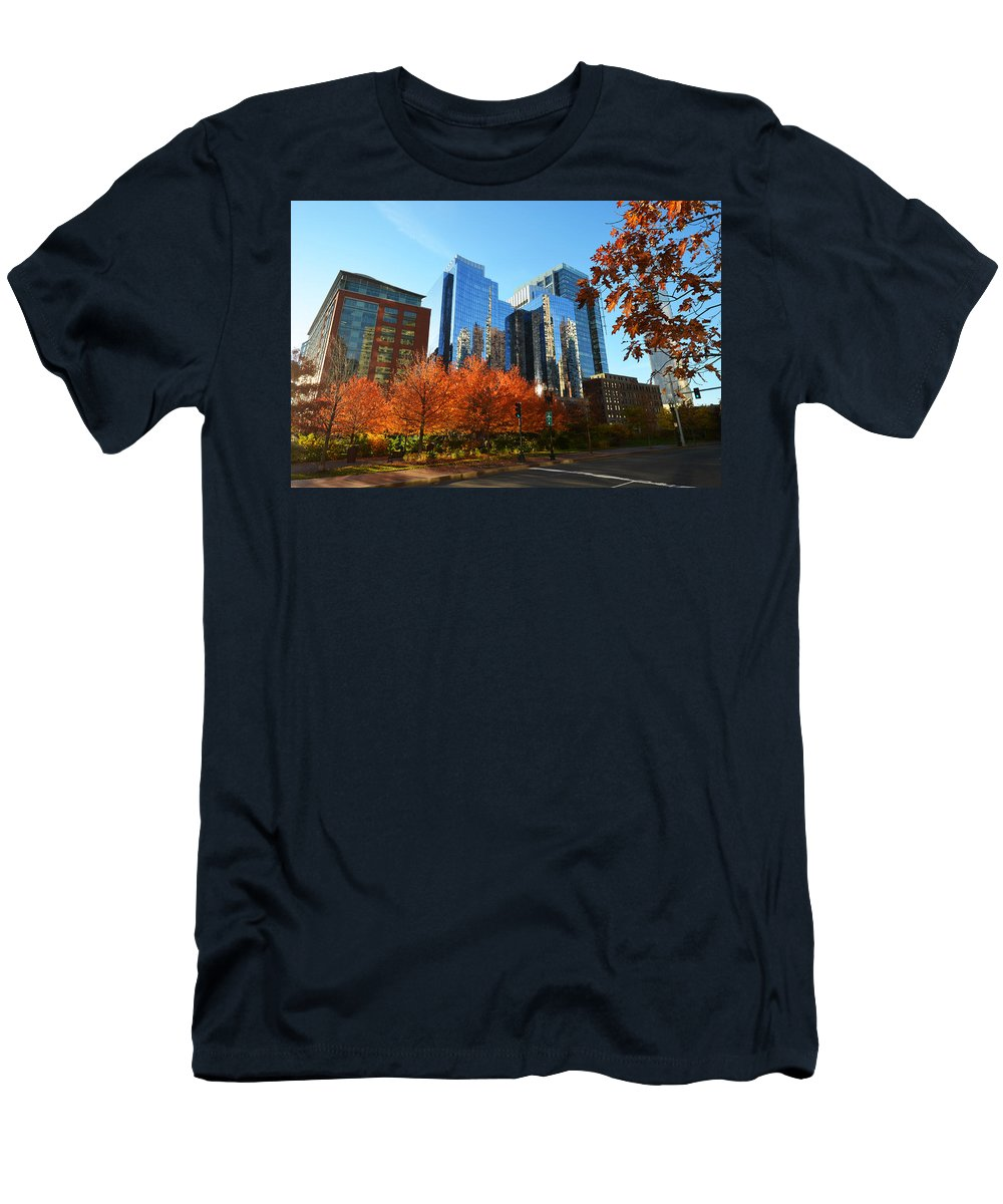 Boston Men's T-Shirt (Athletic Fit) featuring the photograph Autumn In Boston by Toby McGuire
