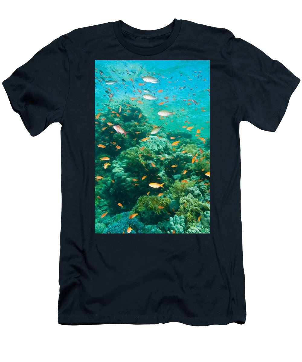 Aquatic Men's T-Shirt (Athletic Fit) featuring the digital art Coral Reef by Roy Pedersen
