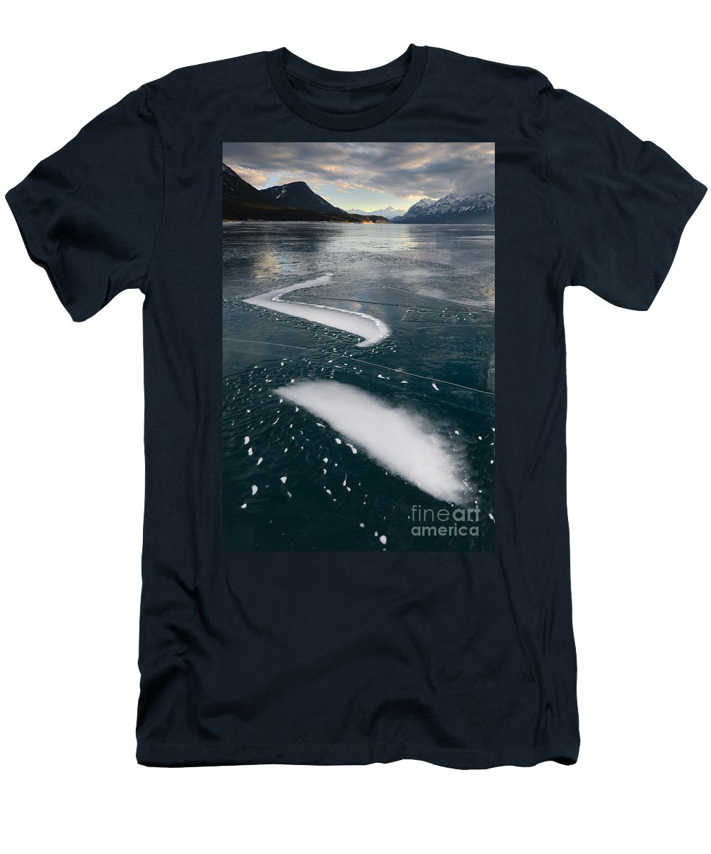 Nature Men's T-Shirt (Athletic Fit) featuring the photograph Ice Pattern On Frozen Abraham Lake by John Shaw