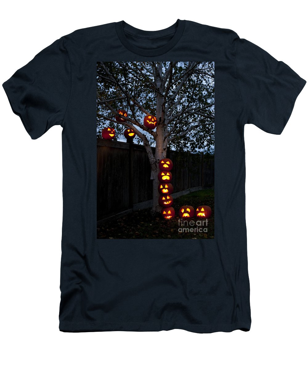 31st Men's T-Shirt (Athletic Fit) featuring the photograph Pumpkin Escape Over Fence by Jim Corwin