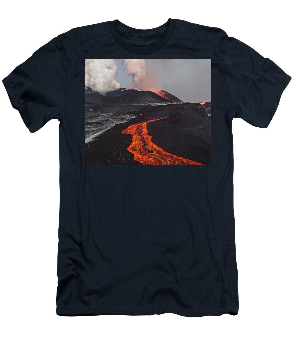 Feb0514 Men's T-Shirt (Athletic Fit) featuring the photograph Tolbachik Volcano Erupting Kamchatka by Sergey Gorshkov