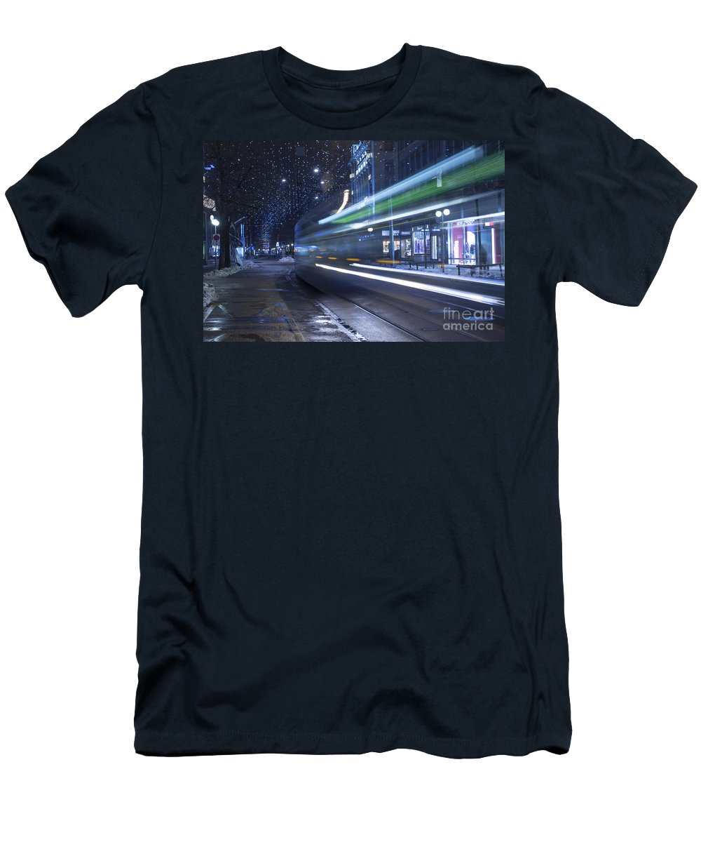 Tram Men's T-Shirt (Athletic Fit) featuring the photograph Tram At Night by Mats Silvan