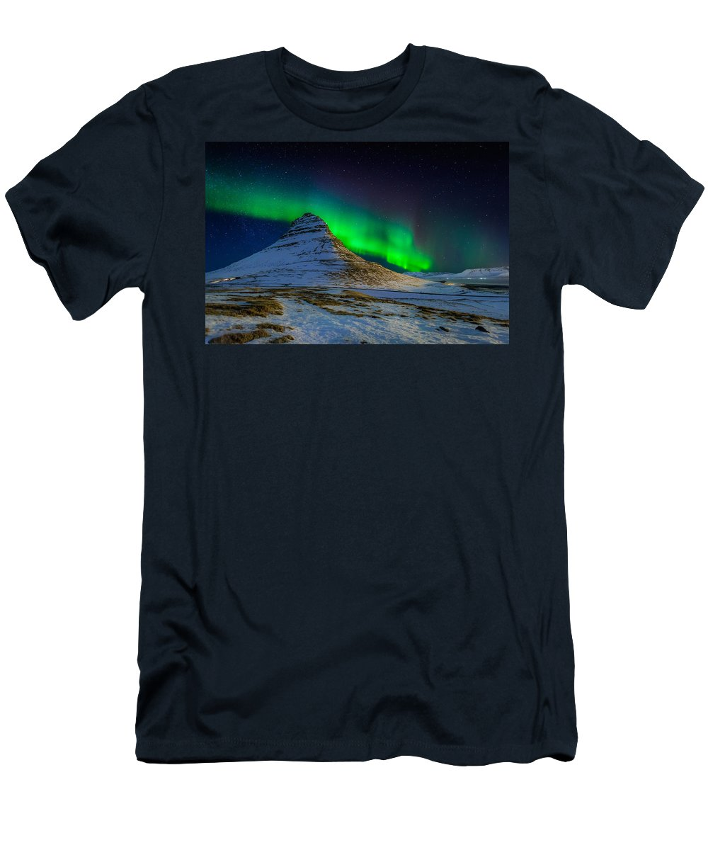 Photography Men's T-Shirt (Athletic Fit) featuring the photograph Aurora Borealis Or Northern Lights 6 by Panoramic Images