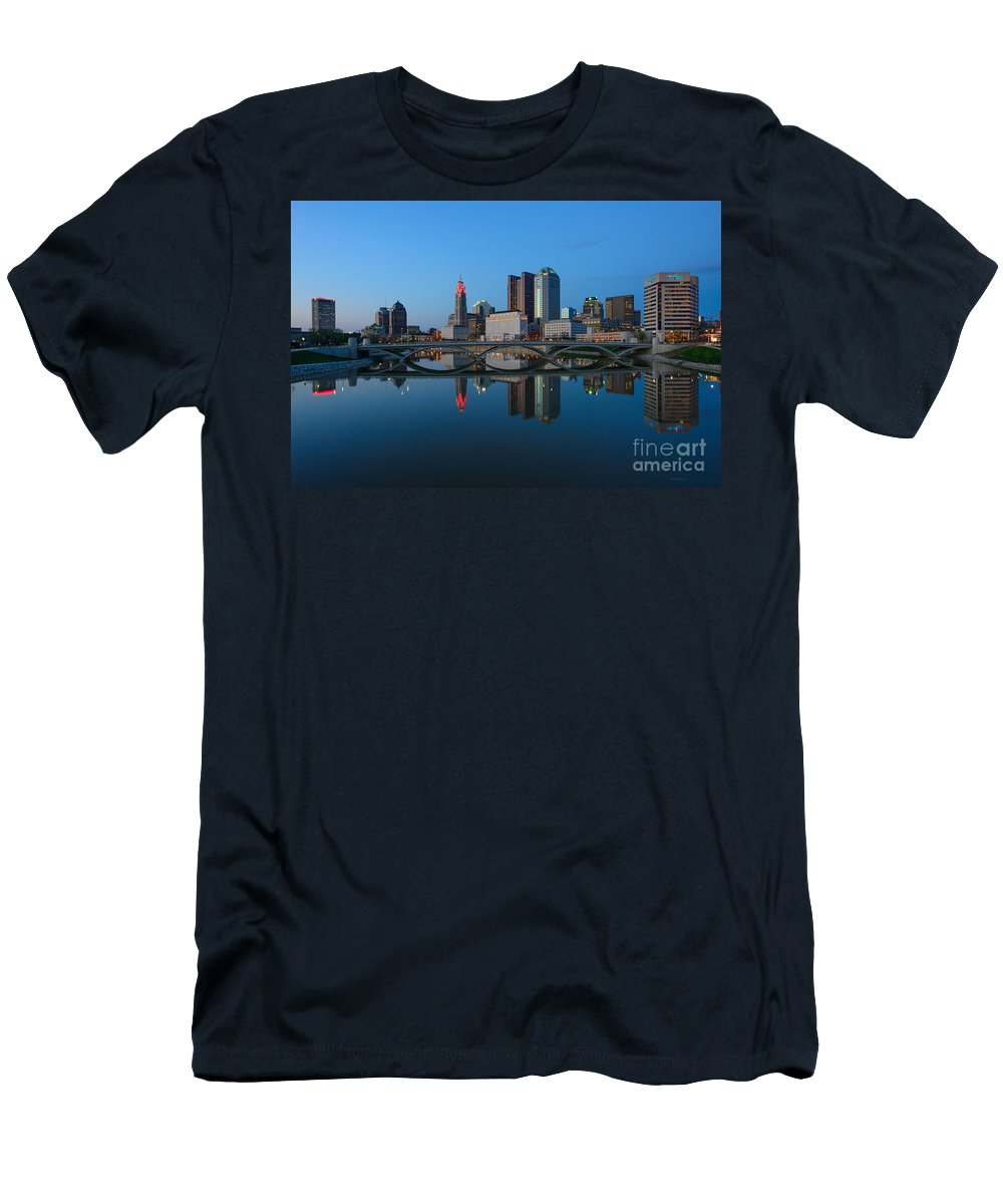 Columbus Men's T-Shirt (Athletic Fit) featuring the photograph Fx2l-508 Columbus Ohio Skyline Photo by Ohio Stock Photography