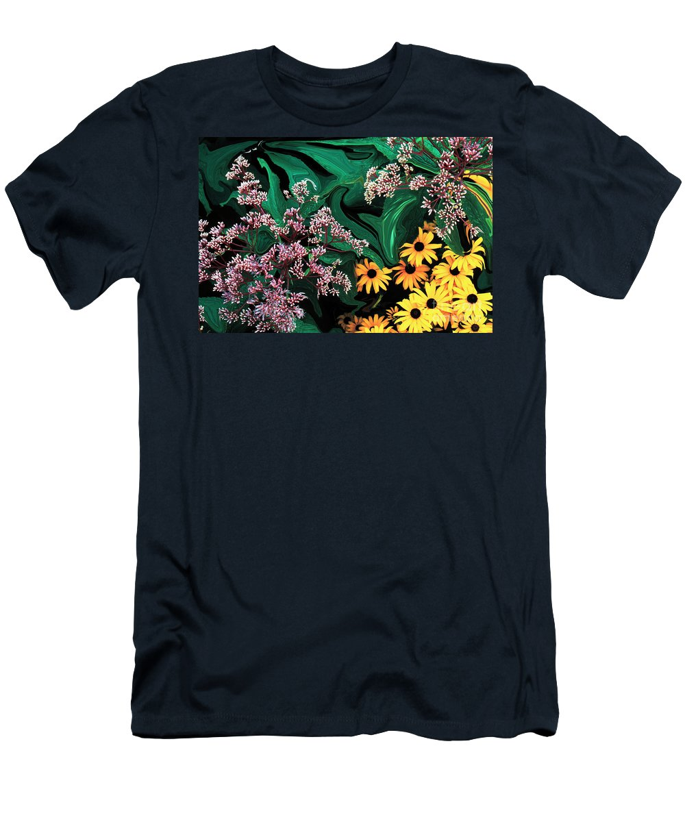 Flowers Men's T-Shirt (Athletic Fit) featuring the photograph A Painting Wild Flowers Dali-style by Mike Nellums