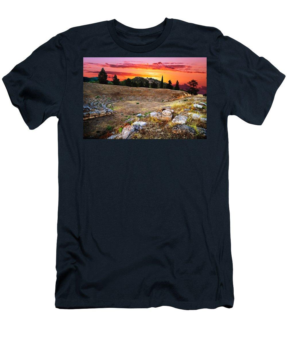 Amphitheatre Men's T-Shirt (Athletic Fit) featuring the photograph Acropolis Of Eretria by Ivan Zeitlin