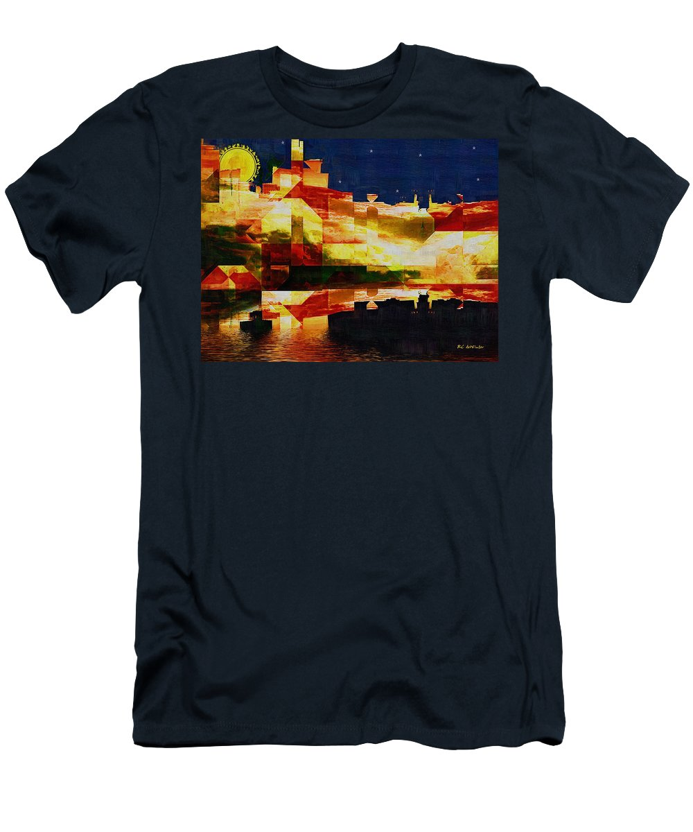 Abstract Men's T-Shirt (Athletic Fit) featuring the painting After The Icebergs Melt by RC DeWinter