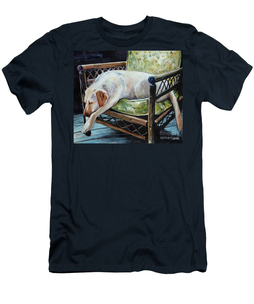 Yellow Labrador Retriever Men's T-Shirt (Athletic Fit) featuring the painting Afternoon Nap by Molly Poole