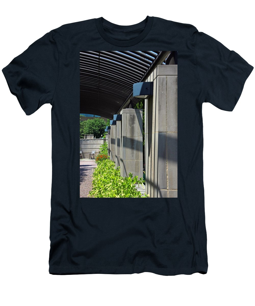 Walkway Men's T-Shirt (Athletic Fit) featuring the photograph Afternoon Sunlight by Carolyn Stagger Cokley