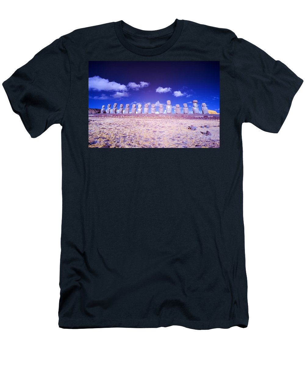 Chile Men's T-Shirt (Athletic Fit) featuring the photograph Ahu Tongariki Infrared by Jess Kraft