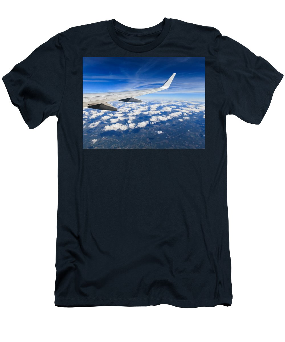 Aircraft Men's T-Shirt (Athletic Fit) featuring the photograph Airplane Wing by Dutourdumonde Photography