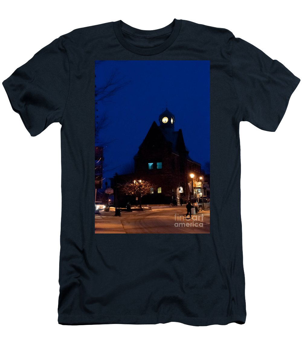 Old Buildings Men's T-Shirt (Athletic Fit) featuring the photograph Almonte Ontario At Night by Cheryl Baxter