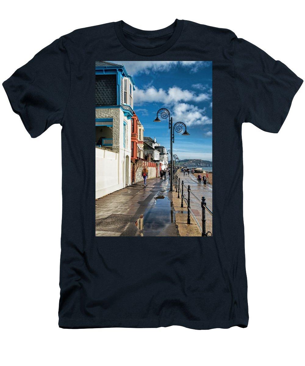 Lyme-regis Men's T-Shirt (Athletic Fit) featuring the photograph Along The Promenade - Lyme Regis by Susie Peek