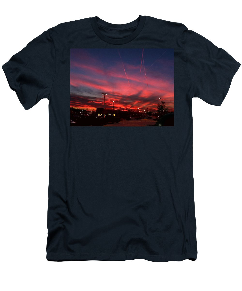 Landscape Men's T-Shirt (Athletic Fit) featuring the photograph American Sunset by Steve Karol
