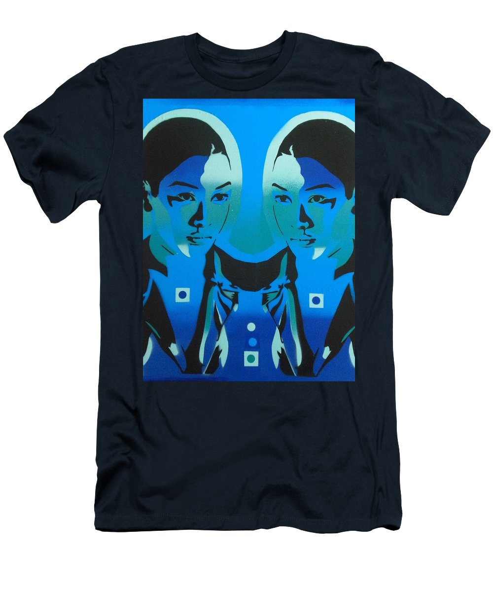 Urban Art Men's T-Shirt (Athletic Fit) featuring the painting Android Twins by Leon Keay