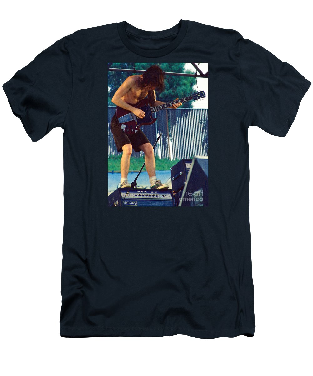 Angus Young Men's T-Shirt (Athletic Fit) featuring the photograph Angus Young Of A C D C At Day On The Green Monsters Of Rock by Daniel Larsen